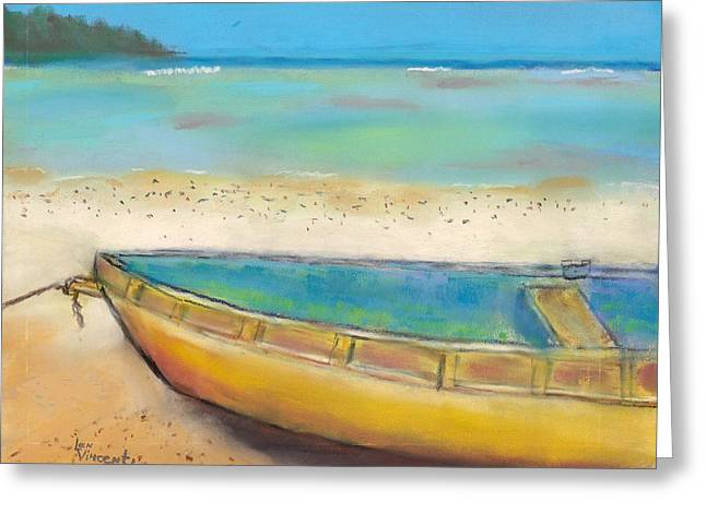 Row Pastels Greeting Cards - Bahama Boat Greeting Card by Len Vincenti