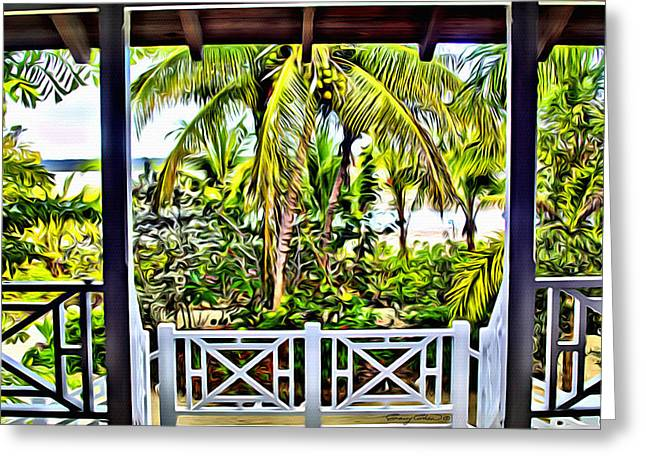 Bamboo Fence Digital Greeting Cards - Bahama house view Greeting Card by Anthony C Chen