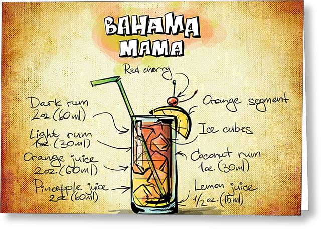 Bartender Drawings Greeting Cards - Bahama Mama Recipe Greeting Card by Alexas Fotos