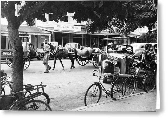 Indy Car Greeting Cards - Bahama Street Scene Greeting Card by Underwood Archives