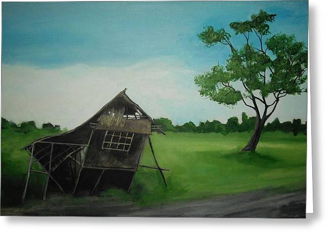 Bahay Kubo Greeting Card by Robert Cunningham