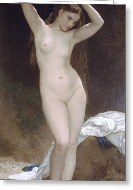 Bouguereau; William-adolphe (1825-1905) Greeting Cards - Baigneuse or Bather Greeting Card by William-Adolphe Bouguereau