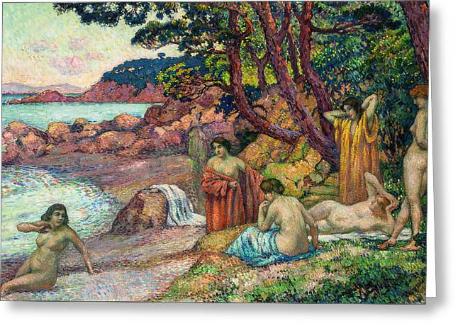 Baigneuses Greeting Cards - Baigneuses Cape Benat  Greeting Card by Theo van Rysselberghe
