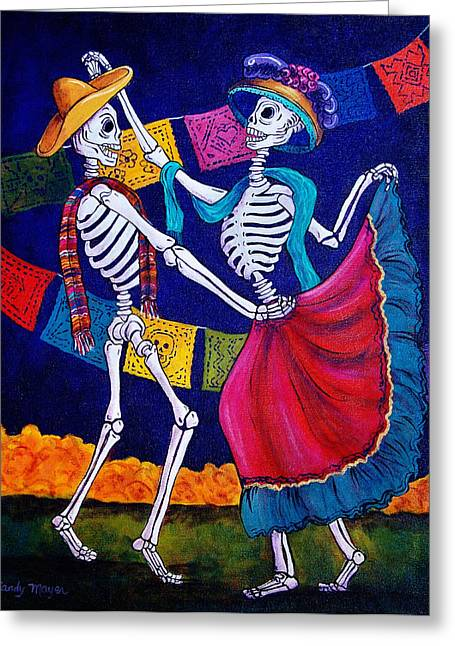 Day Of The Dead Greeting Cards - Bailando Greeting Card by Candy Mayer