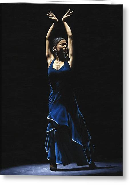 Emotional Art Print Greeting Cards - Bailarina a Solas del Flamenco Greeting Card by Richard Young