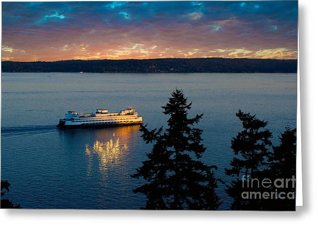 Bainbridge Island Greeting Cards - Bainbridge Ferry Sunset Reflections Greeting Card by Jackie Follett