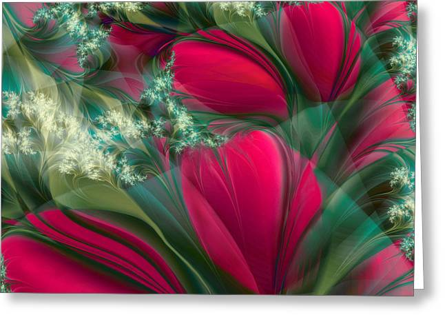Fractal Flower Greeting Cards - Baisers des Tulipes Greeting Card by Mindy Sommers