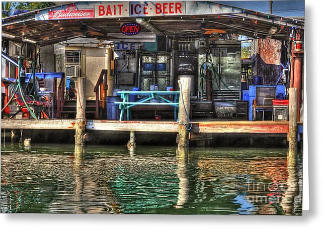 Bait Ice  Beer shop on bay Greeting Card by Dan Friend