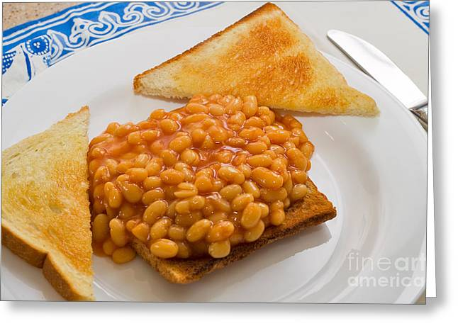 Baked Beans On Toast Greeting Card by Louise Heusinkveld