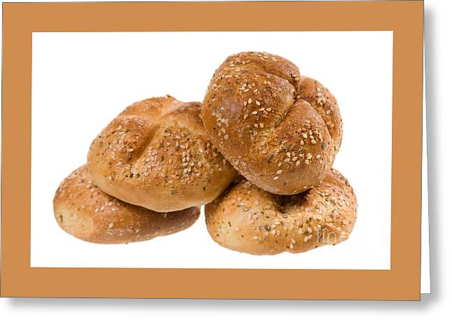 Wholewheat Greeting Cards - Baked Graham Kaiser Rolls With Spices And Sesame  Greeting Card by Arletta Cwalina
