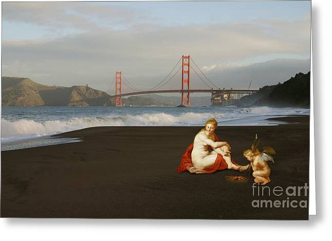 Venus And Cupid Greeting Cards - Baker Beach Greeting Card by Elena Nosyreva