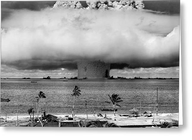Atom Bomb Greeting Cards - Baker Hydrogen Bomb - Bikini Atoll - July 1946 Greeting Card by Daniel Hagerman