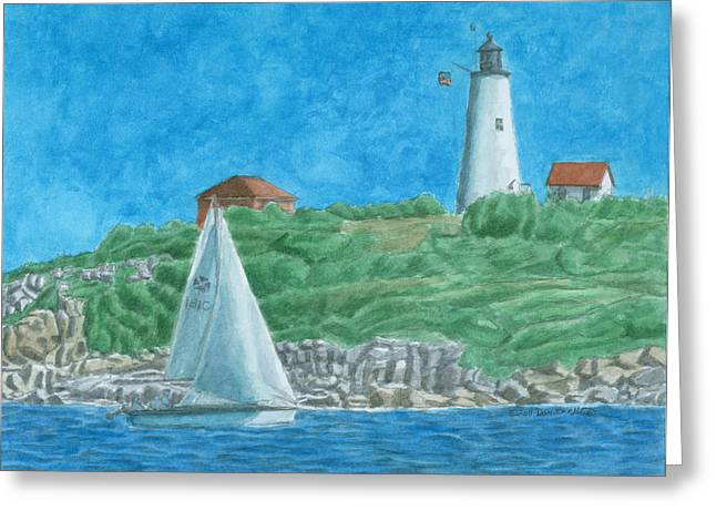 New England Lighthouse Paintings Greeting Cards - Bakers Island Lighthouse Greeting Card by Dominic White