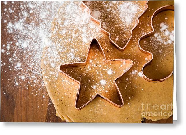 Flour Greeting Cards - Baking christmas cookies Greeting Card by Kati Molin