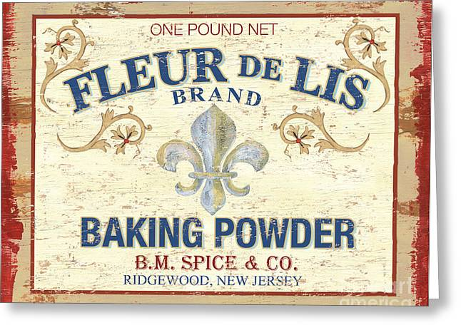 Powder Greeting Cards - Baking Powder Fleur de Lis Greeting Card by Debbie DeWitt