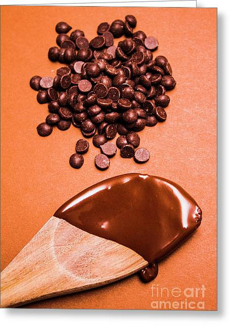 Baking Scene Of Spoon Covered With Chocolate Greeting Card by Jorgo Photography - Wall Art Gallery