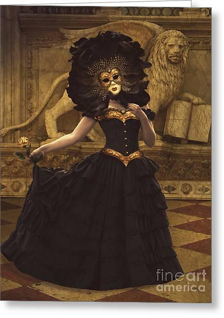 Lions Greeting Cards - Bal du Mask Venice 8 Greeting Card by Babette Van den Berg