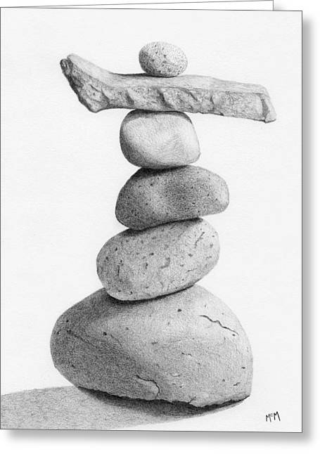 Stack Drawings Greeting Cards - Balance 4  drawing  Greeting Card by Garry McMichael