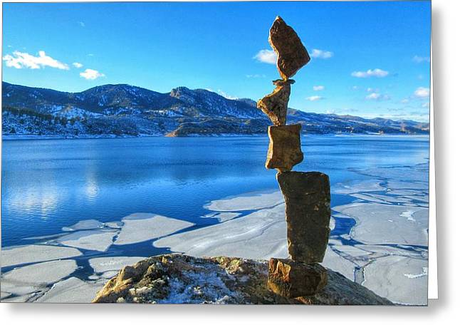 Balance In Blue Greeting Card by Douglas Case