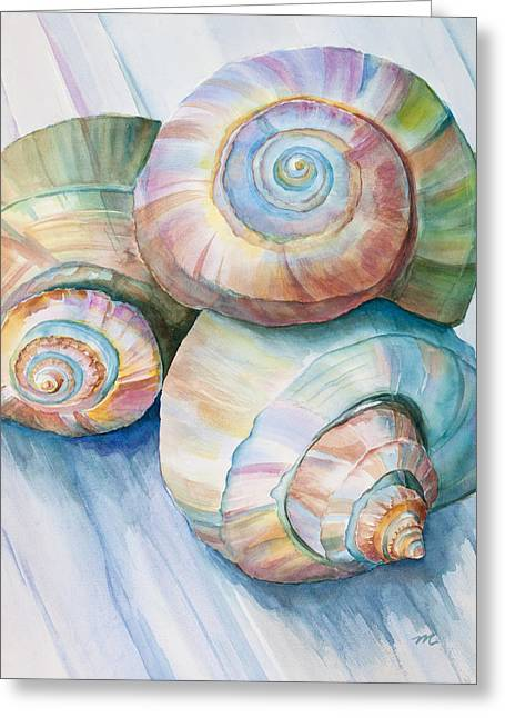 Balance In Spirals Watercolor Painting Greeting Card by Michelle Wiarda