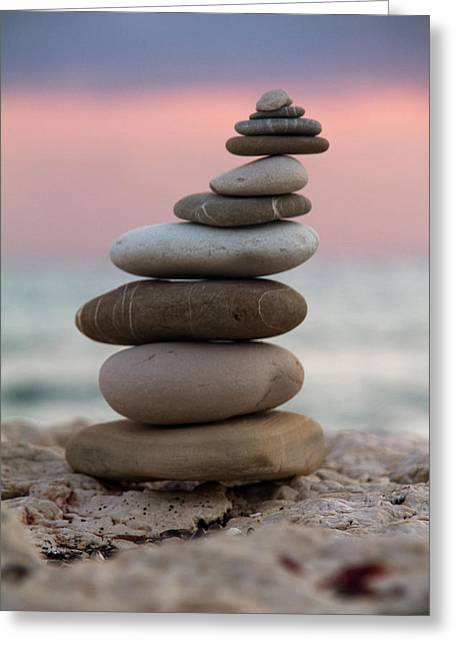 Beach White Greeting Cards - Balance Greeting Card by Stylianos Kleanthous