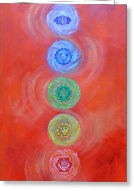 Chakra Paintings Greeting Cards - Balance Greeting Card by Sundara Fawn