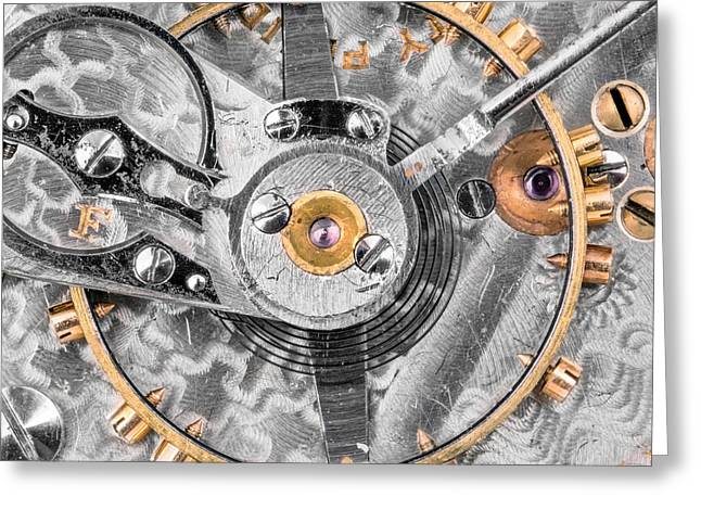 Balance Wheel Of A Vintage Pocketwatch Greeting Card by Jim Hughes
