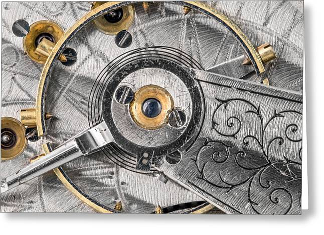 Balance Wheel Of An Antique Pocketwatch Greeting Card by Jim Hughes