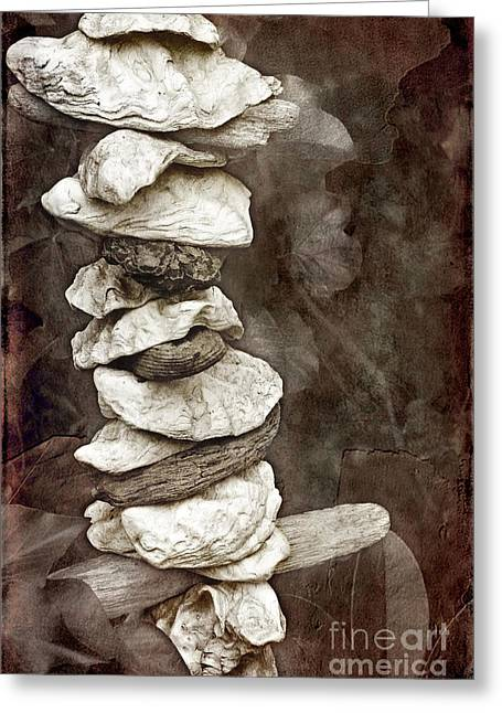 Earth Burned Greeting Cards - Balanced Greeting Card by Ellen Cotton