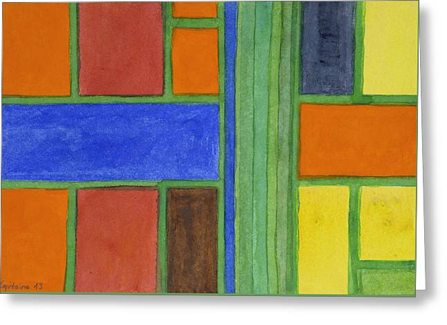 Geometric Art Greeting Cards - Balanced Fields Greeting Card by Heidi Capitaine