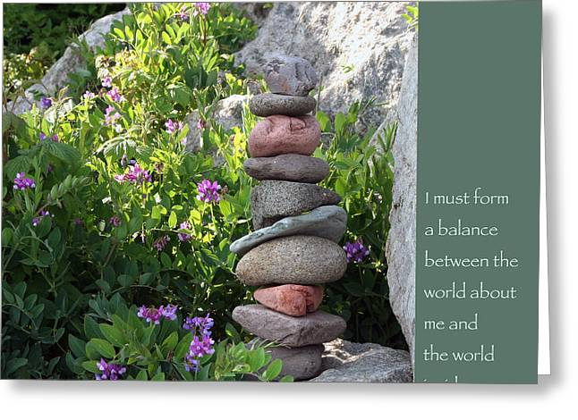 Balancing Greeting Cards - Balancing Stones with Tao Quote Greeting Card by Heidi Hermes