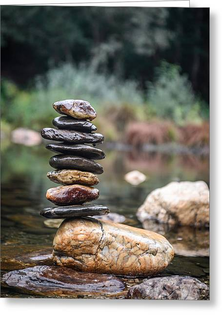 Balancing Zen Stones In Countryside River I Greeting Card by Marco Oliveira