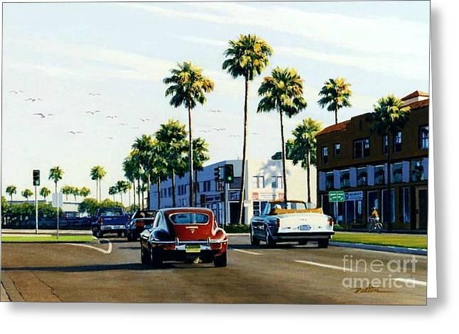 Jaguars Greeting Cards - Balboa Boulevard Greeting Card by Frank Dalton