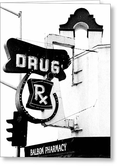 Black And White Reliefs Greeting Cards - Balboa Drug Greeting Card by Rosanne Nitti
