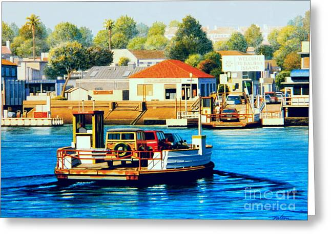 Newport Greeting Cards - Balboa Island Ferry Greeting Card by Frank Dalton