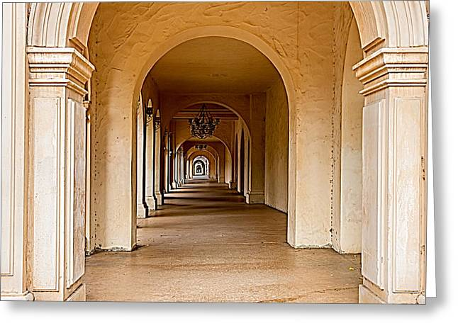 American Colonial Architecture Greeting Cards - Balboa Park Walkway Greeting Card by Bill Gallagher