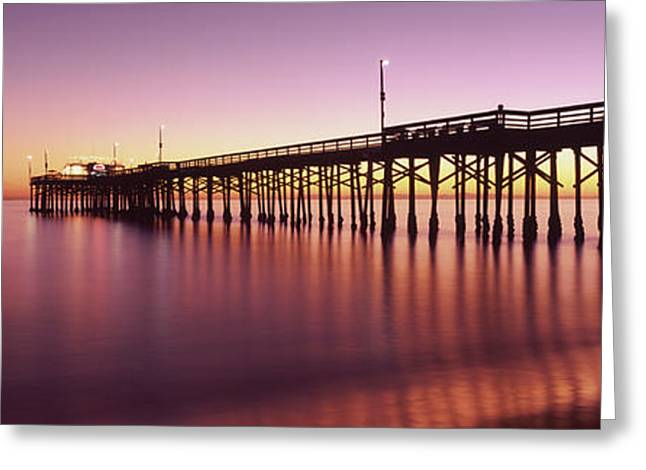 Balboa Pier At Sunset, Newport Beach Greeting Card by Panoramic Images