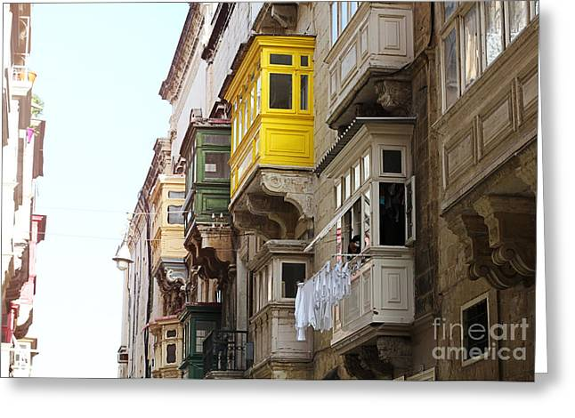 Maltese Photographs Greeting Cards - Balconies of Valletta 1 Greeting Card by Jasna Buncic