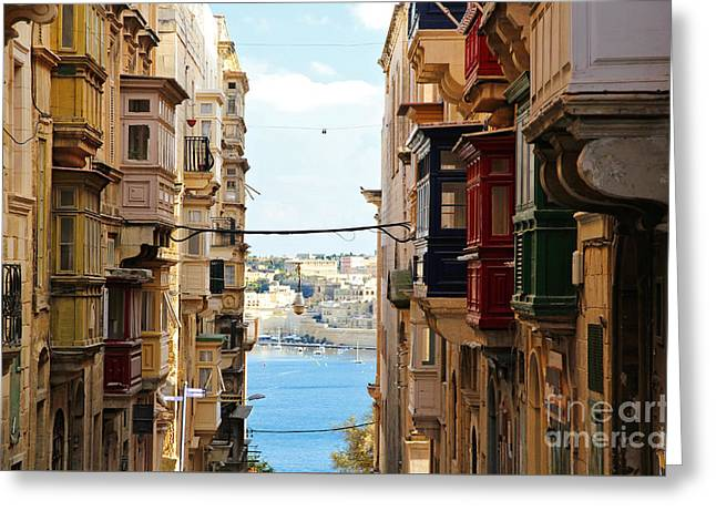 Maltese Photographs Greeting Cards - Balconies of Valletta 2 Greeting Card by Jasna Buncic