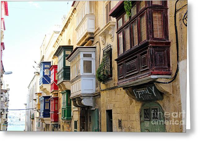 Maltese Photographs Greeting Cards - Balconies of Valletta 3 Greeting Card by Jasna Buncic