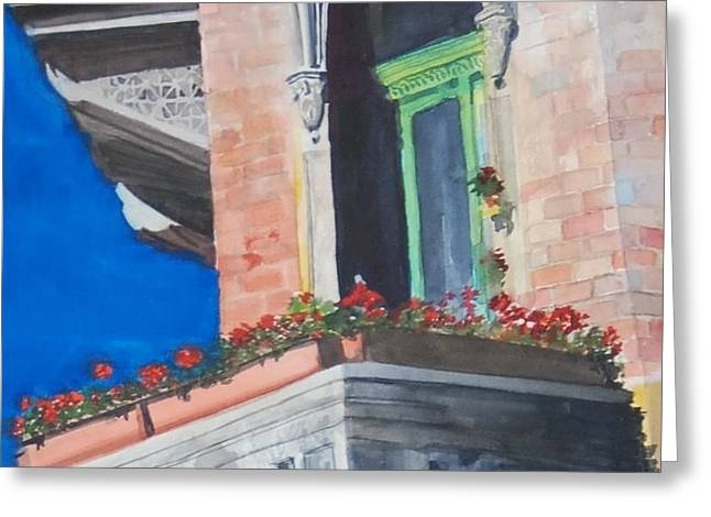 Prague Paintings Greeting Cards - Balcony Budapest Greeting Card by Isabel Farrell
