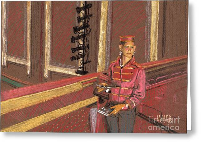 Movie Pastels Greeting Cards - Balcony Usher Greeting Card by Donald Maier