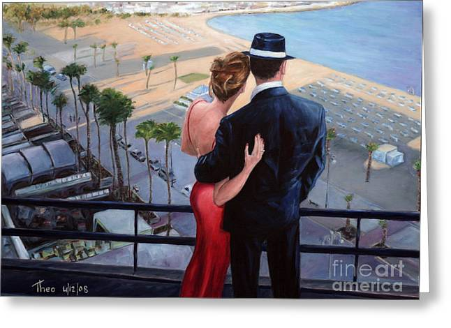 Illustrative Paintings Greeting Cards - Balcony With A View Greeting Card by Theo Michael