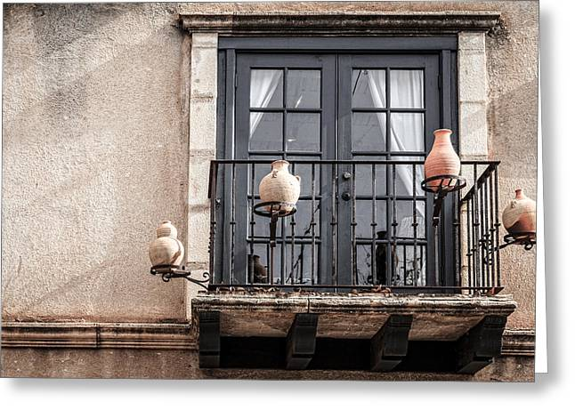 Pottery Pitcher Greeting Cards - Balcony with pitchers Greeting Card by Alexey Stiop