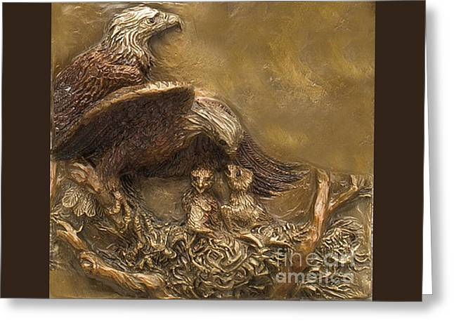 Eagle Reliefs Greeting Cards - Bald Eagle Family Greeting Card by Dawn Senior-Trask