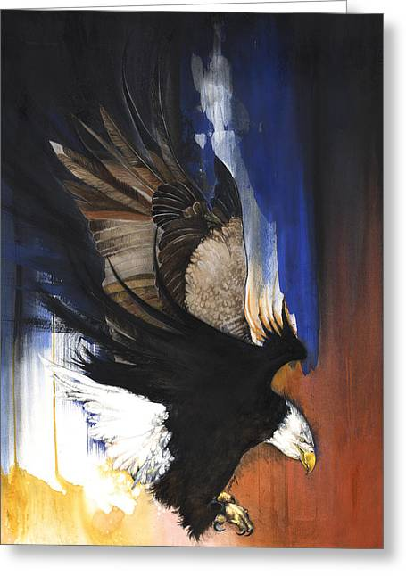 African-american Mixed Media Greeting Cards - Bald Eagle II Greeting Card by Anthony Burks Sr