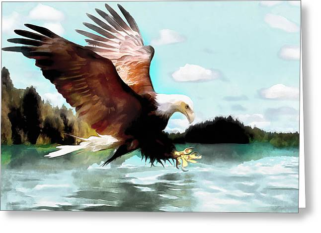 4th July Paintings Greeting Cards - Bald Eagle Painting Watercolor Fine Art Print Greeting Card by Vya Artist