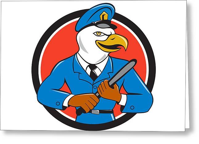 Bald Eagle Policeman Baton Circle Cartoon Greeting Card by Aloysius Patrimonio