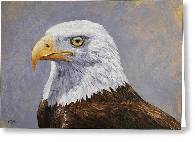 Eagle Feathers Greeting Cards - Bald Eagle Portrait Greeting Card by Crista Forest