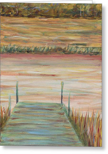 Salmon Paintings Greeting Cards - Bald Head Dock Greeting Card by Nadine Rippelmeyer